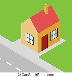 Kleines Haus isometrischer Blick, Vorort.
