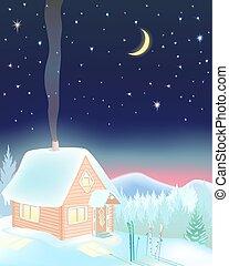 kleines haus, ski, berge., nacht