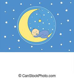Kleines Mädchen, das auf dem Mond schläft