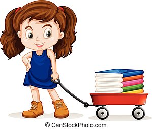 Kleines Mädchen, das einen Wagen voller Bücher zieht.
