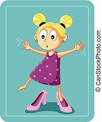 Kleines Mädchen, das Mutters High Heel Schuhe Vektor probiert.
