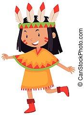 Kleines Mädchen im amerikanischen Indianerkostüm.
