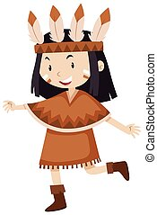 Kleines Mädchen im Indianerkostüm.