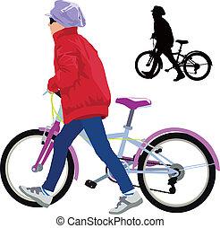 Kleines Mädchen mit Fahrrad