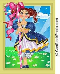 Kleines Mädchen mit Süßigkeiten in Fairytale