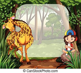 Kleines Mädchen und Giraffe im Wald.