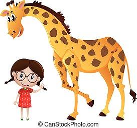 Kleines Mädchen und große Giraffe.