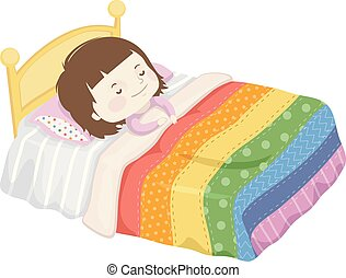 Kleines Schlafbett Regenbogendecke Illustration.