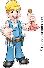 Klempner, Handwerker, der Sprit hält.