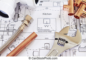 Klempnerwerkzeuge für Hauspläne.