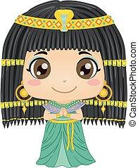 kleopatra, kostüm, m�dchen, kind, abbildung