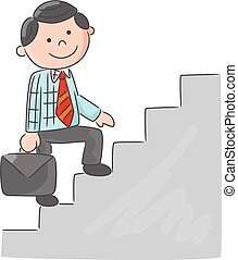 kletternde treppe, karikatur, mann