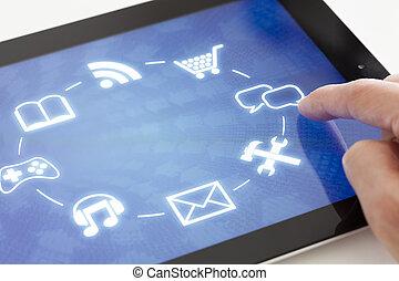 klicken, schnittstelle, touchscreen, tablette
