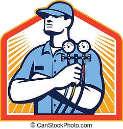 Klimaanlagenmechanik vorne.