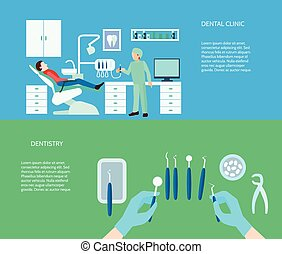 klinik, banner, satz, dental