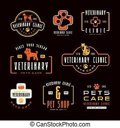 klinik, etiketten, satz, veterinär