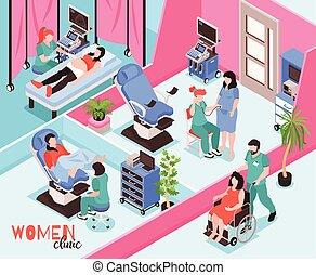 klinik, isometrisch, frauen, abbildung