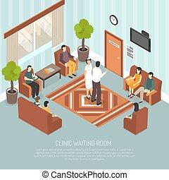 klinik, zimmer, isometrisch, abbildung, warten