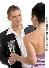 klirren, paar, champagner