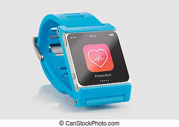 klug, app, uhr, blaues, ikone, fitness, schirm