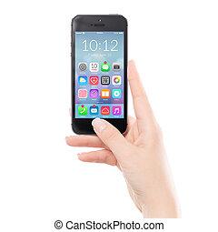 klug, bunte, beweglich, schwarz, auf, telefon, schließen, anwendung, ikone