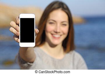 klug, frau, sandstrand, glücklich, textanzeige, telefon, ausstellung