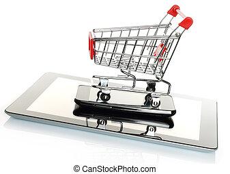 klug, tablette, shoppen, telefon, karren, pc