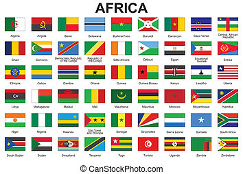 Knöpfe mit Flaggen Afrikas