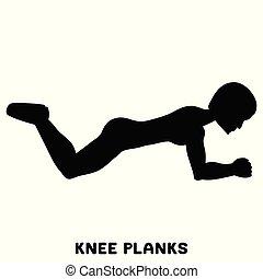 Knieplanken. Sport exersice. Silhouetten von Frauen, die Sport treiben. Training.