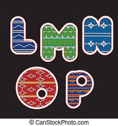 Knitted alphabet - Buchstaben LMNOP