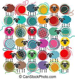 Knittende Garnbälle und abstrakte Schaf-Qualität