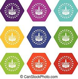 Knoblauch-Icons setzen 9 Vektor.