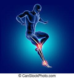 knochen, 3d, springende , knie, hervorgehoben, knöchel, figur, medizin, mann