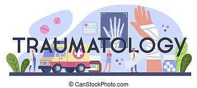 knochen, traumatology, sprain., oder, header., kaputte , typographisch, glied, verletzt