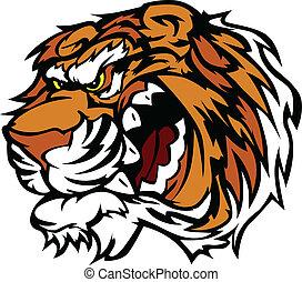 knurren, tiger, karikatur, maskottchen