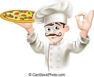 Koch hält eine leckere Pizza