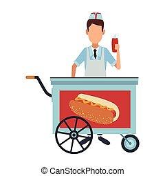Koch mit Hot Dog Stand.