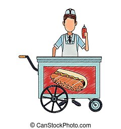 Koch mit Hotdog-Stand-Skritzeln.
