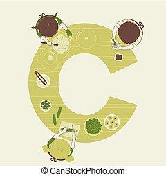 kochen, kinder, abbildung, alphabet, schule
