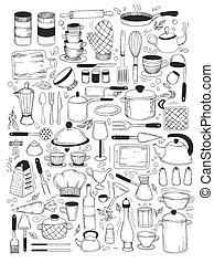 kochen, satz, gerät, klassen, kueche