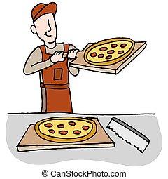Kochen und Pizza schneiden.