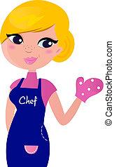 Kochfrau bereitete sich auf Kochen vor, isoliert auf weiß