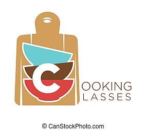 Kochkurse promo emblem mit Schneidbrett und Schalen