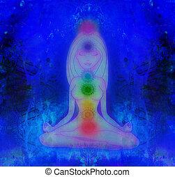 koerper, energie, chakras, menschliche , aura, meditation