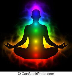 koerper, energie, menschliche , chakra, aura, meditation