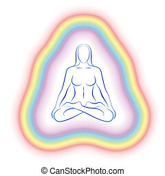 koerper, fein, meditation, frau, aura