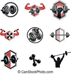 koerper, hanteln, geschaffen, workout, equipment., sammlung, silhouette., illustrationen, thema, vektor, gewichte, muskulös, fitness, hanteln, sport, scheibe, sportler