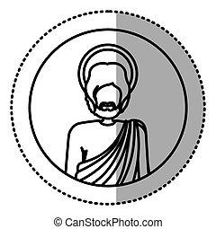 koerper, heilige, figur, aufkleber, joseph, menschliche , hälfte, kontur, kreisförmig