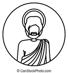 koerper, heilige, figur, form, joseph, menschliche , hälfte, kontur, kreisförmig