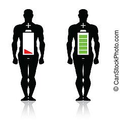 koerper, hoch, menschliche , niedrig, batterie